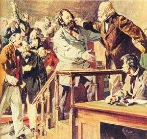 Bakunin-abraza-a-Garibaldi-en-el-Congreso-de-la-Liga-para-la-Paz-y-la-Libertad,-Lausana-1867,-dibujo-de-Tabet