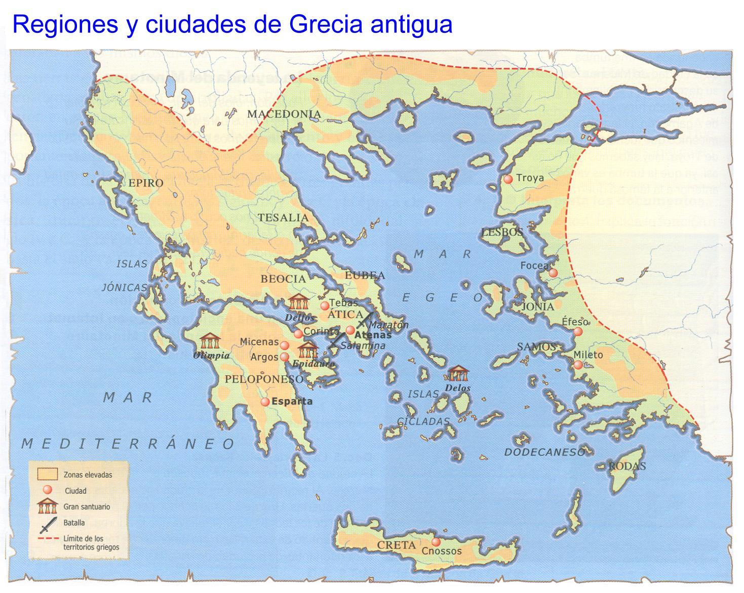 La cultura griega se distribuía entre el territorio continental y el insular.