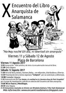 Cartel del X Encuentro del Libro Anarquista de Salamanca